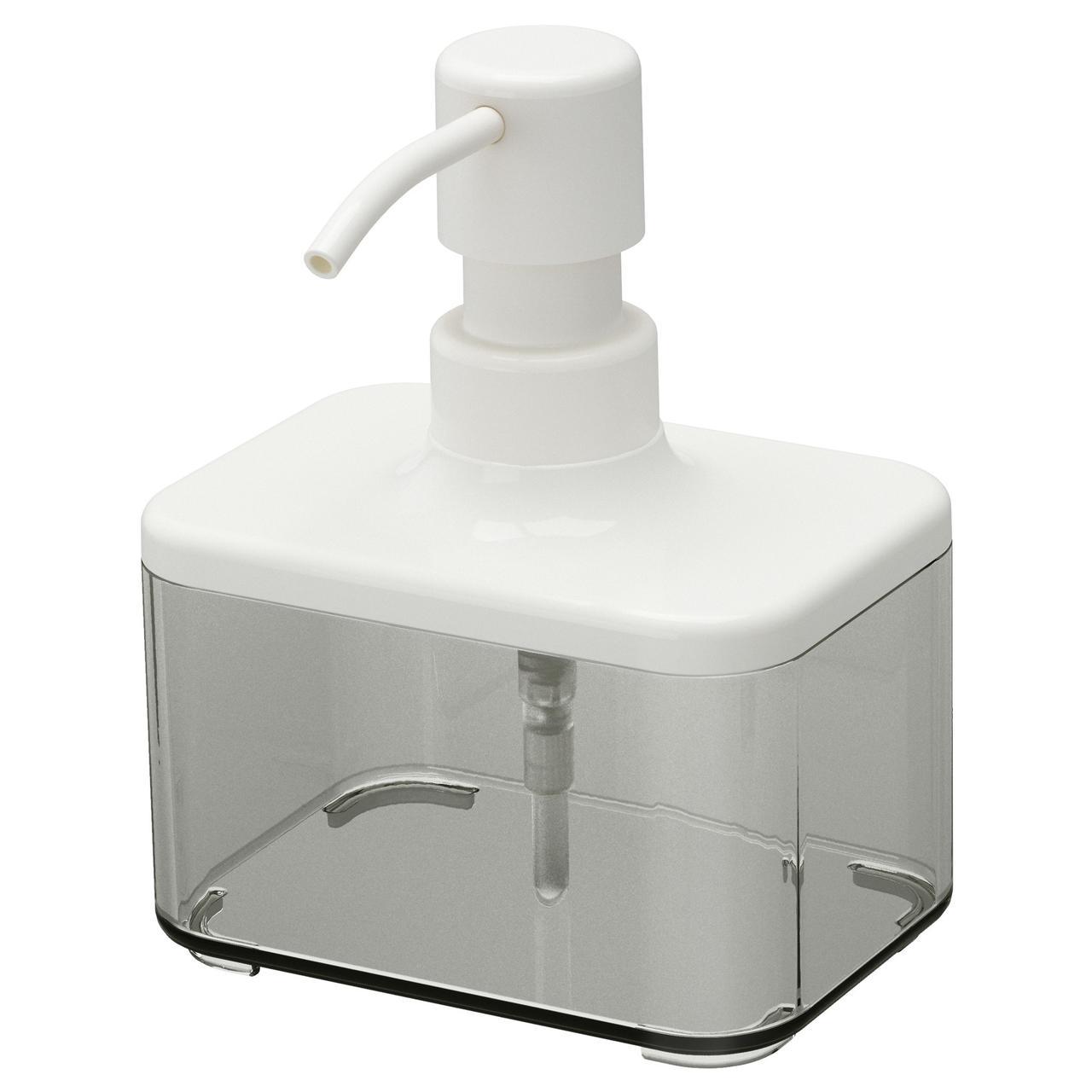БРОГРУНД Дозатор для жидкого мыла, прозрачный серый, белый