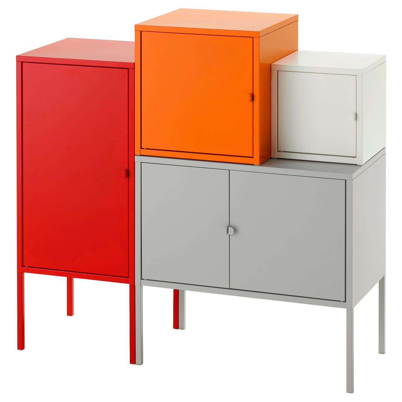 ЛИКСГУЛЬТ Комбинация д/хранения, серый/белый, оранжевый/красный