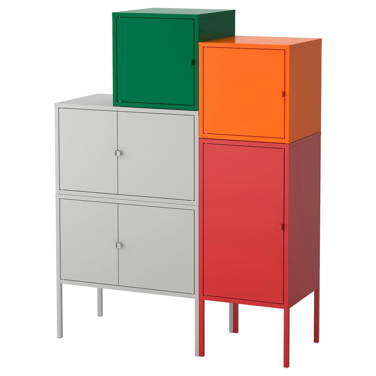 ЛИКСГУЛЬТ Комбинация д/хранения, серый темно-зеленый, красный/оранжевый