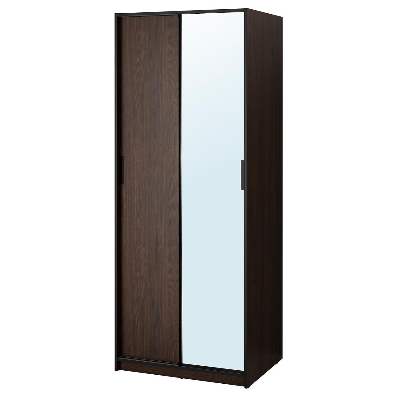 ТРИСИЛ Гардероб, темно-коричневый, зеркальное стекло