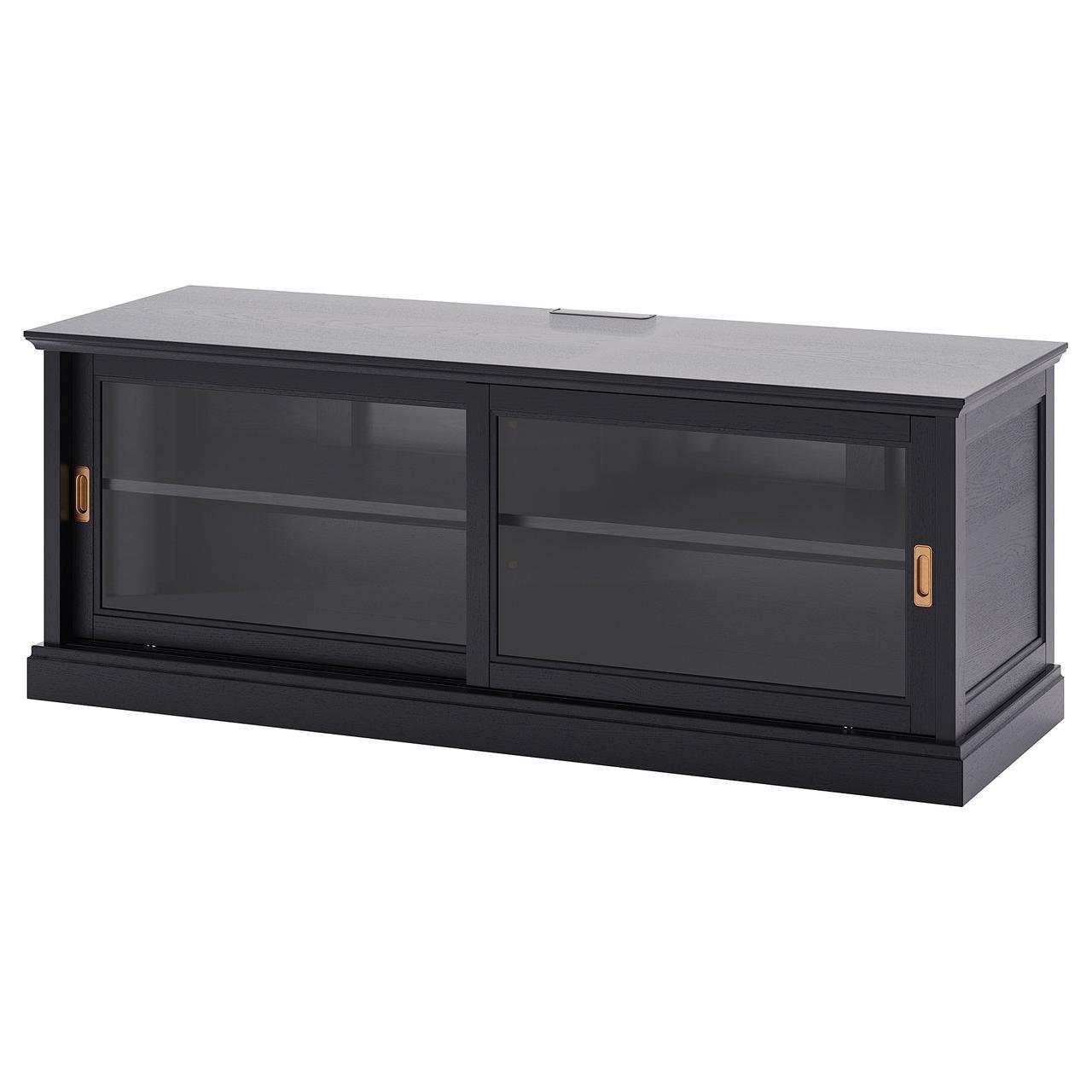 МАЛЬШЁ Тумба под ТВ с раздвижными дверцами, черная морилка