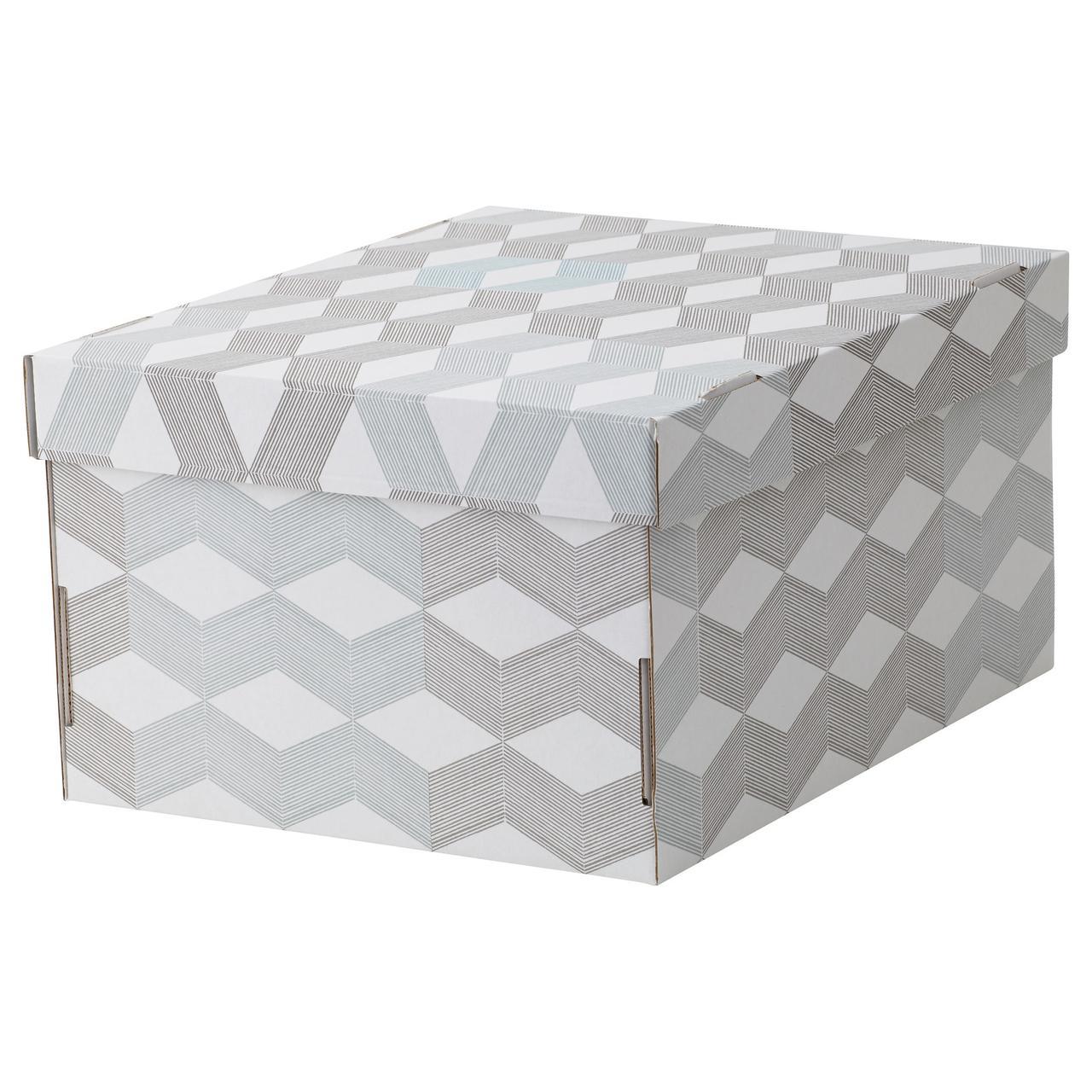СМЕКА Коробка с крышкой, белый, с рисунком