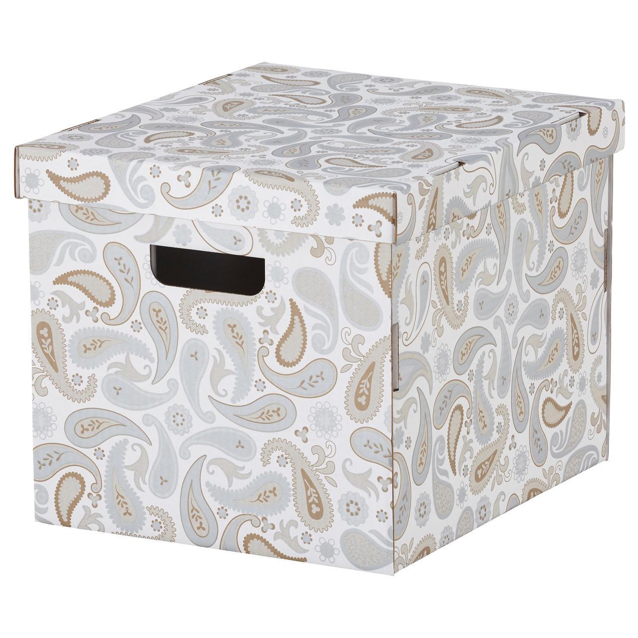 СМЕКА Коробка с крышкой, серый, с рисунком