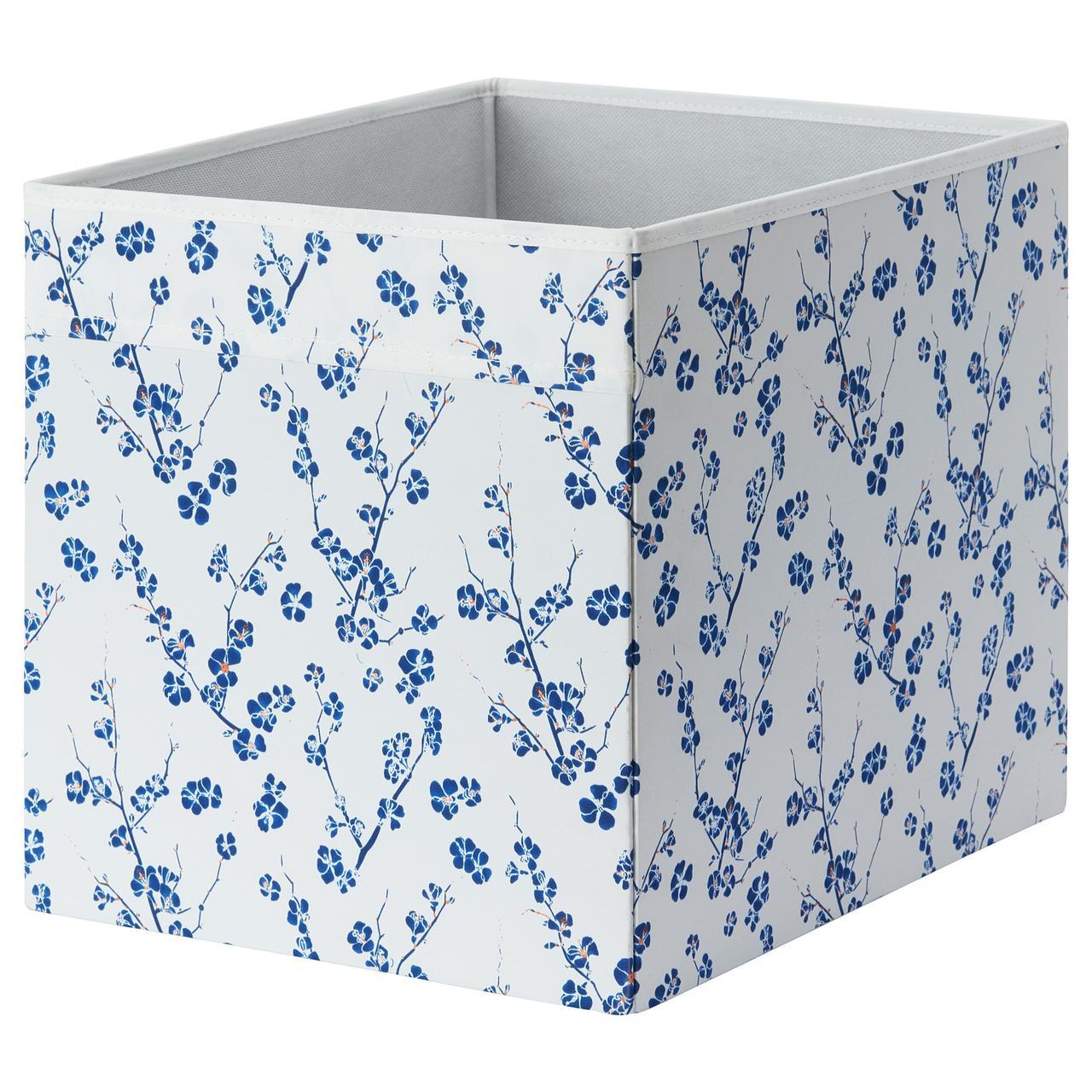 ДРЁНА Коробка, белый, синий с цветочным орнаментом