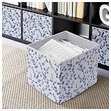 ДРЁНА Коробка, белый, синий с цветочным орнаментом, фото 3