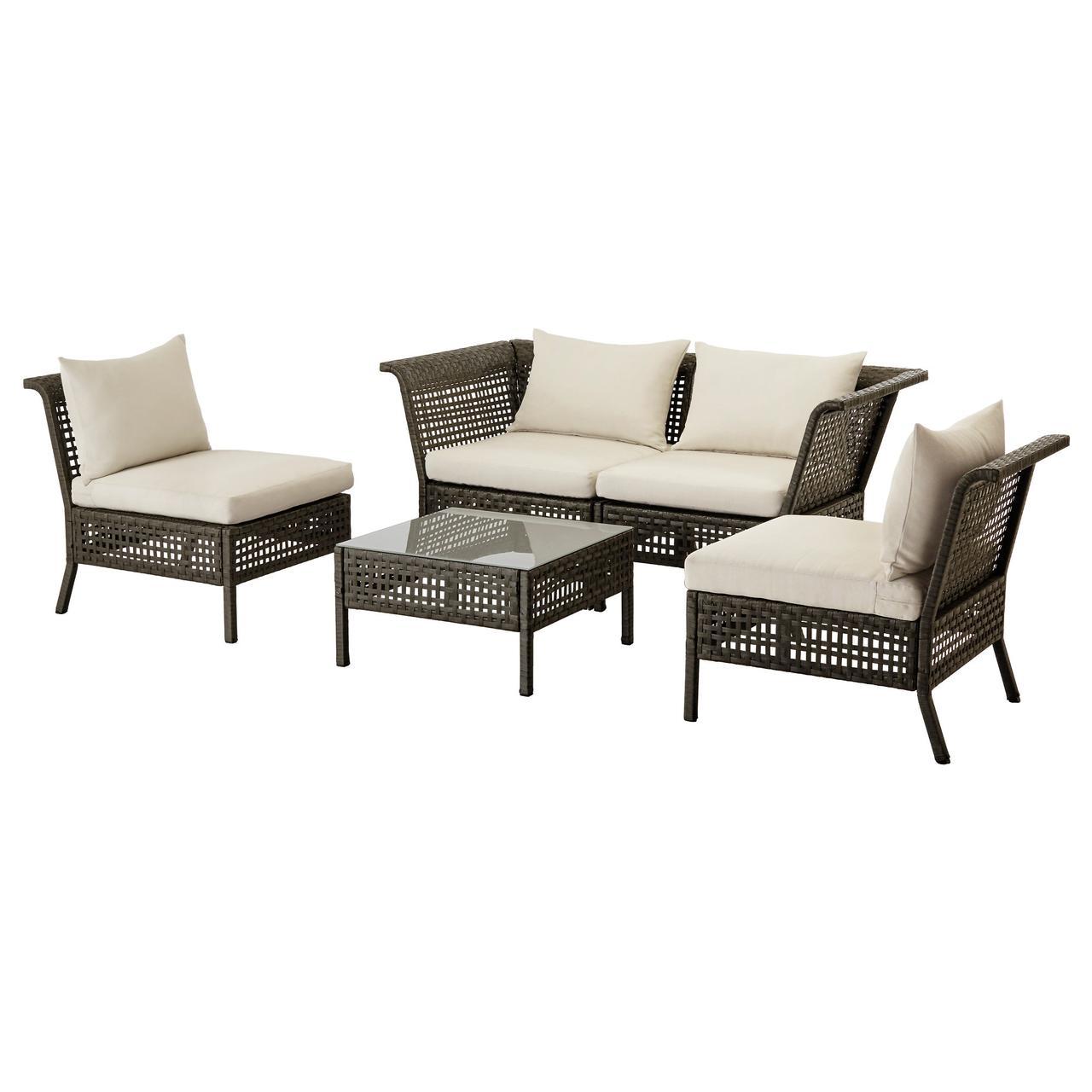 КУНГСХОЛЬМЕН 4-местный комплект садовой мебели, черно-коричневый, Холло бежевый