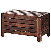 ЭПЛАРО Садовая скамья с ящиком, коричневая морилка