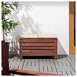 ЭПЛАРО Садовая скамья с ящиком, коричневая морилка, фото 2