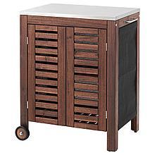 ЭПЛАРО / КЛАСЕН Модуль для хранения, садовый, коричневая морилка, цвет нержавеющей стали