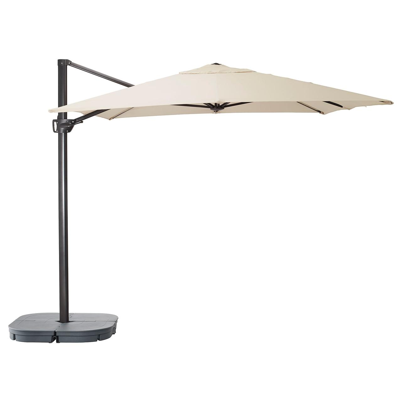 СЕГЛАРО / СВАРТО Зонт от солнца с опорой, наклонный бежевый, темно-серый