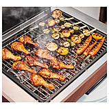 ЭПЛАРО / КЛАСЕН Угольный гриль с тележкой, коричневая морилка, нержавеющ сталь, фото 3