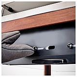 ЭПЛАРО / КЛАСЕН Угольн гриль+тележка/модуль д/хран, коричневая морилка, цвет нержавеющей стали, фото 5