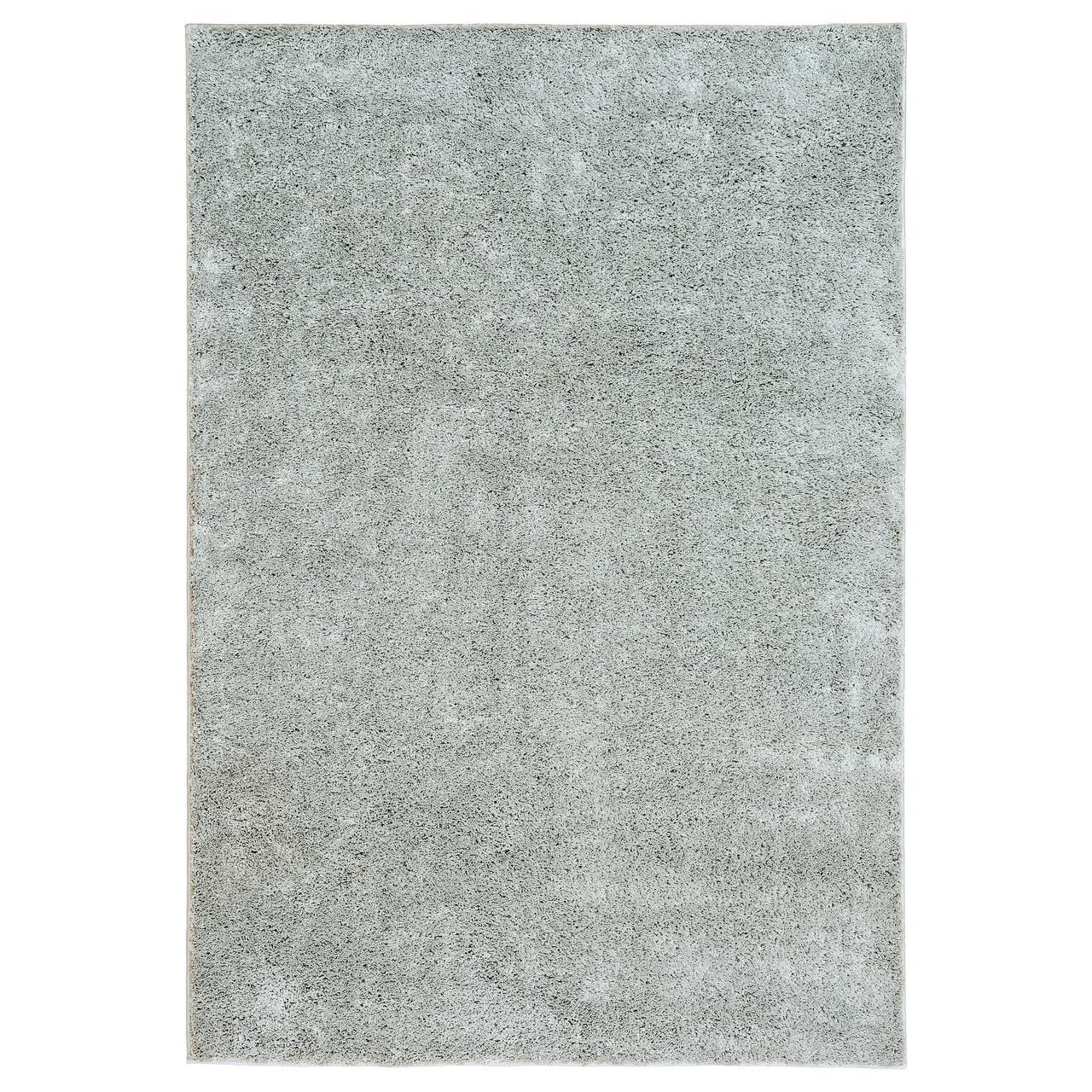 ВОНГЕ Ковер, длинный ворс, светло-серый