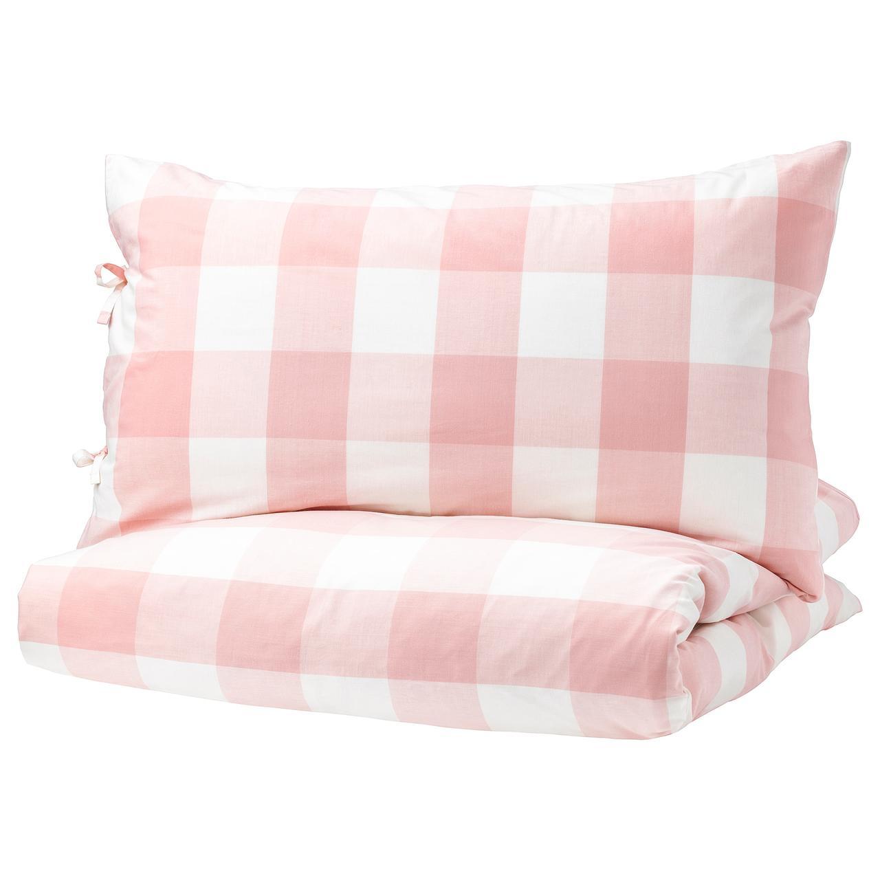 ЭММИ РУТА Пододеяльник и 1 наволочка, светло-розовый, белый