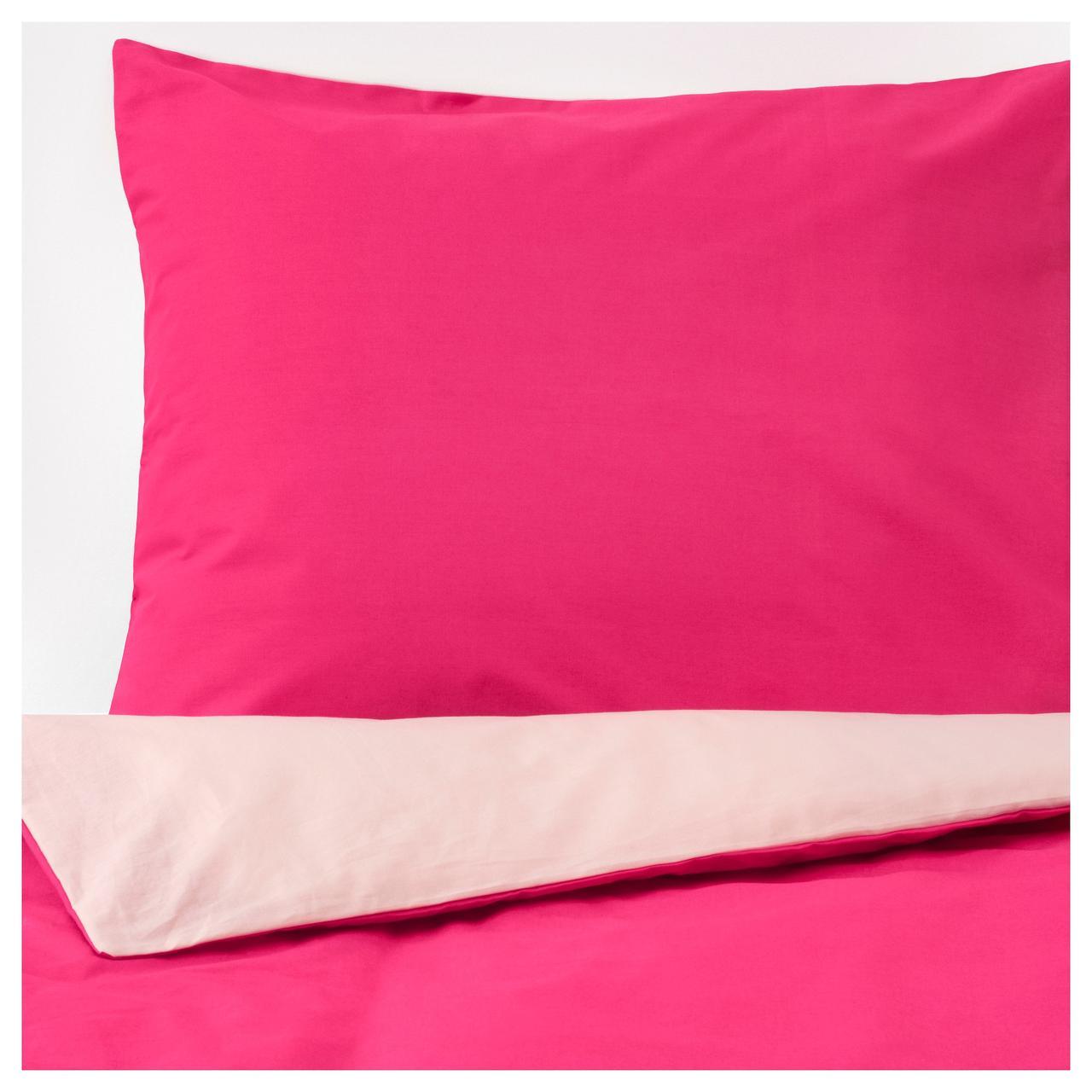 ДВАЛА Пододеяльник и 1 наволочка, розовый