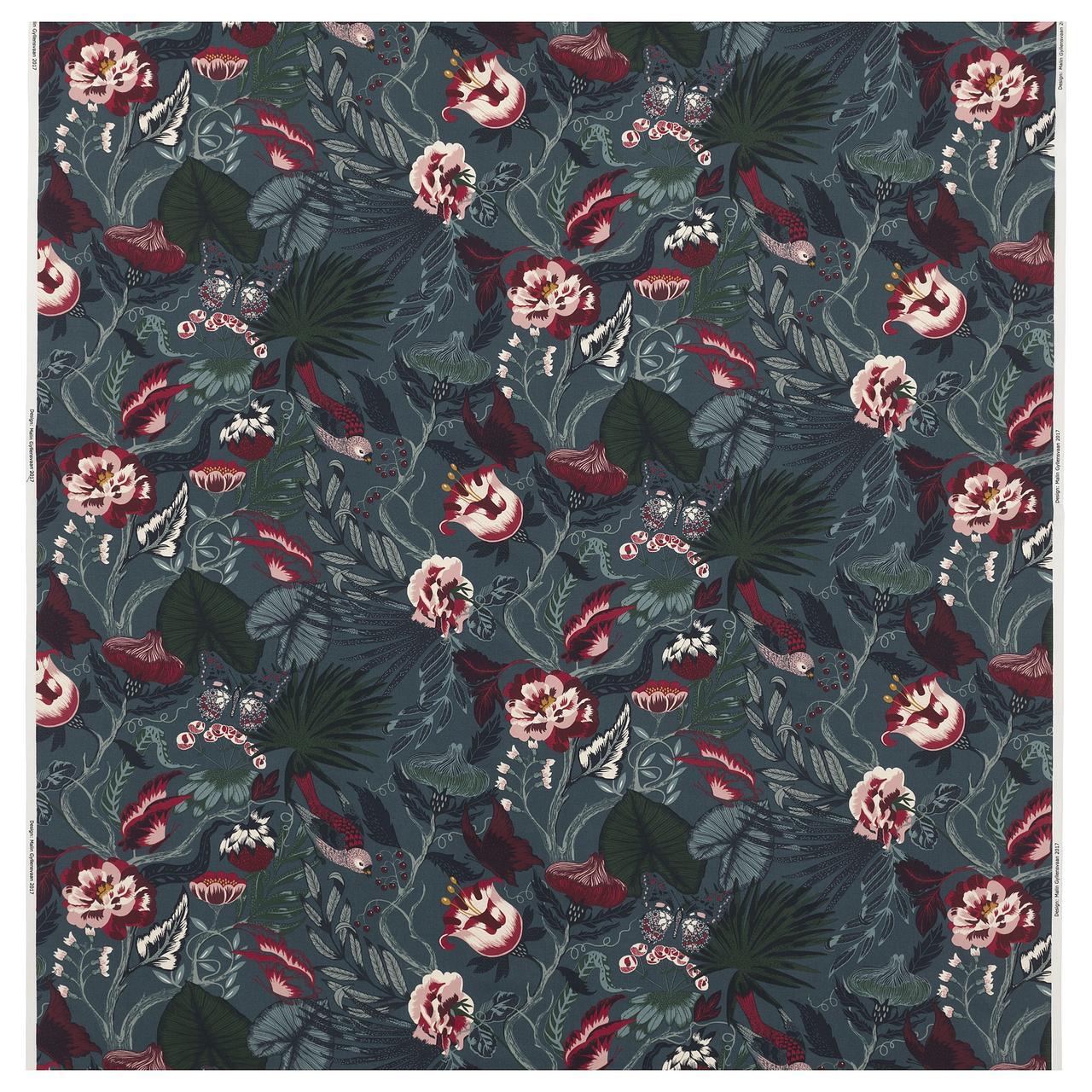 ФИЛОДЕНДРОН Ткань, темно-синий, с цветочным орнаментом