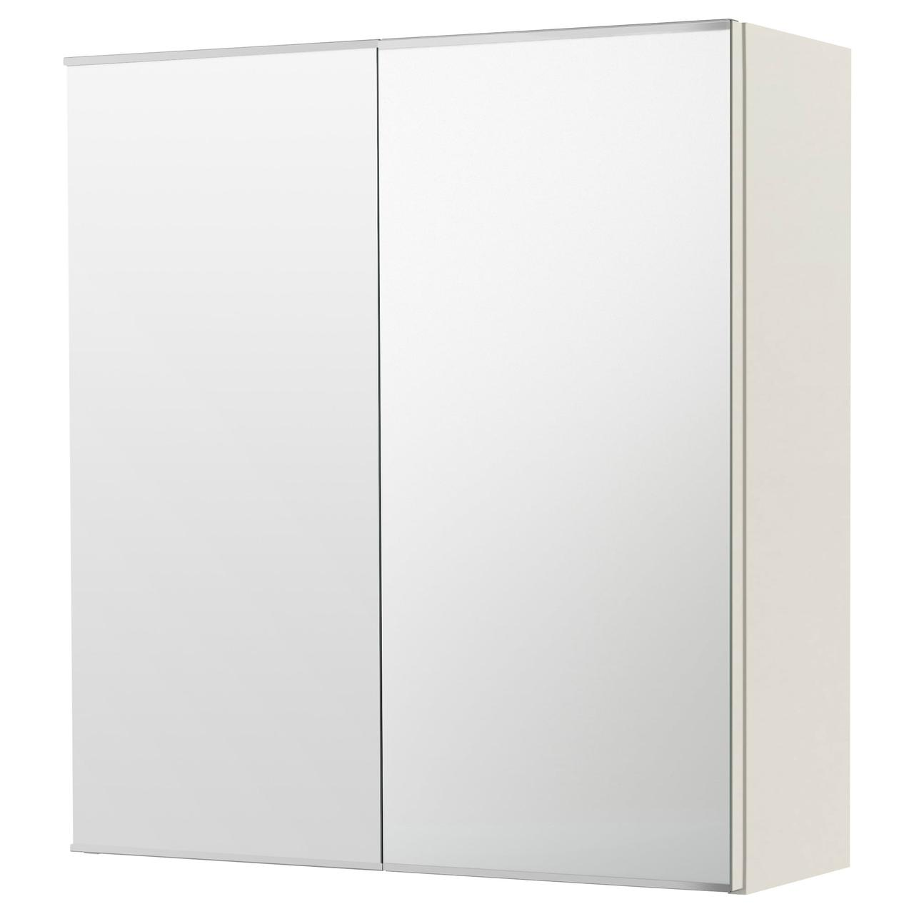 ЛИЛЛОНГЕН Зеркальный шкаф с 2 дверцами, белый