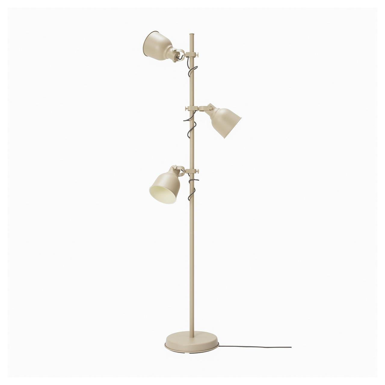 ХЕКТАР Светильник напольный с 3 лампами, бежевый