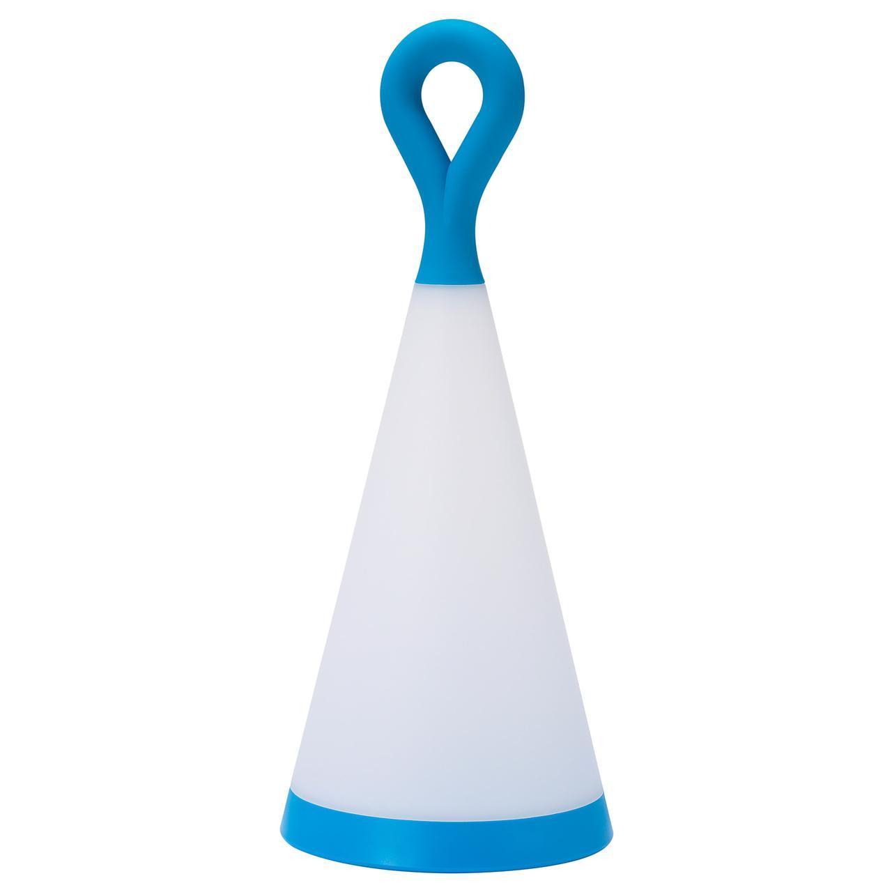 СОЛВИДЕН Настольн светодиодн лампа/солн бат, для сада, треугольник синий/белый