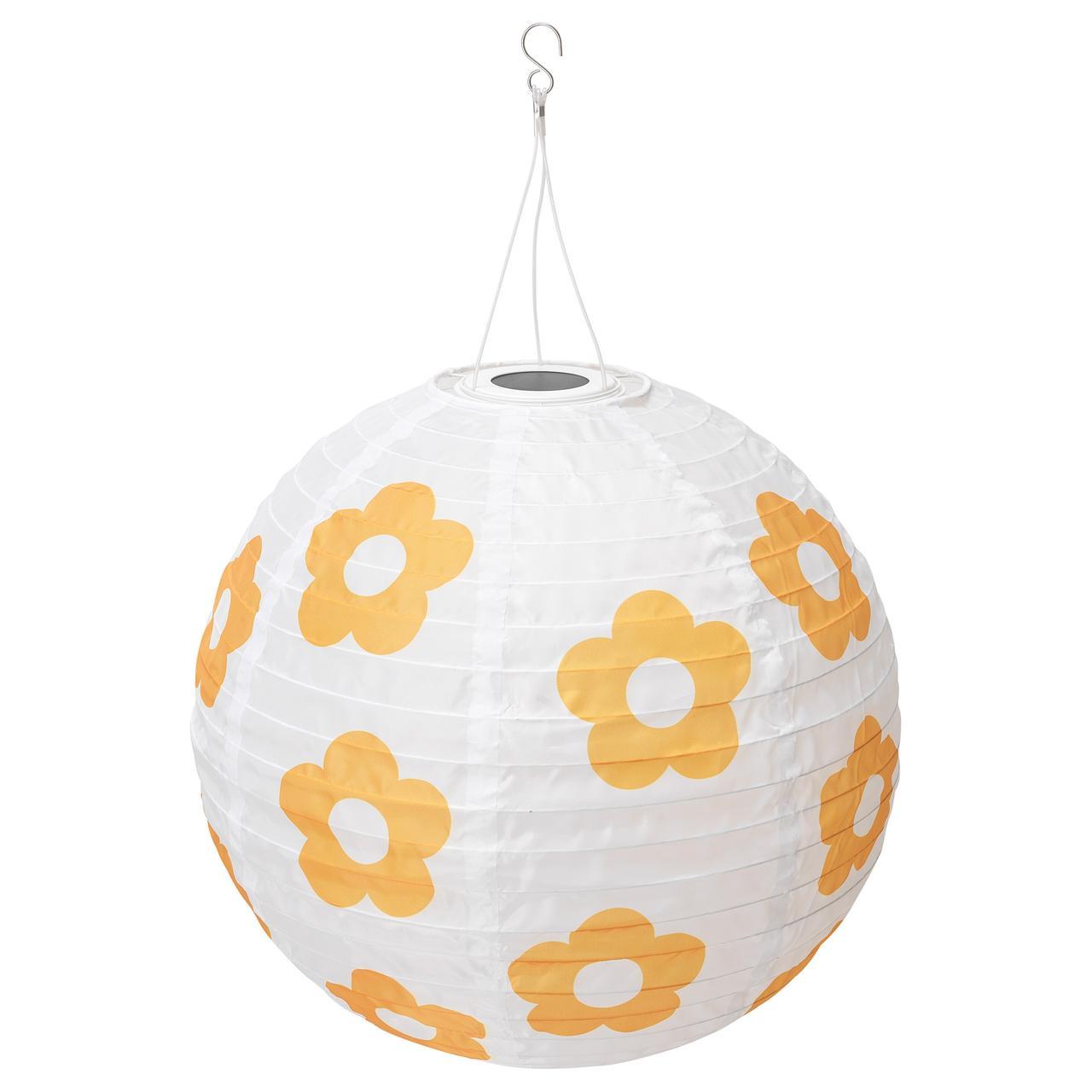 СОЛВИДЕН Подвесная светодиодная лампа, для сада шаровидный, цветочный орнамент желтый