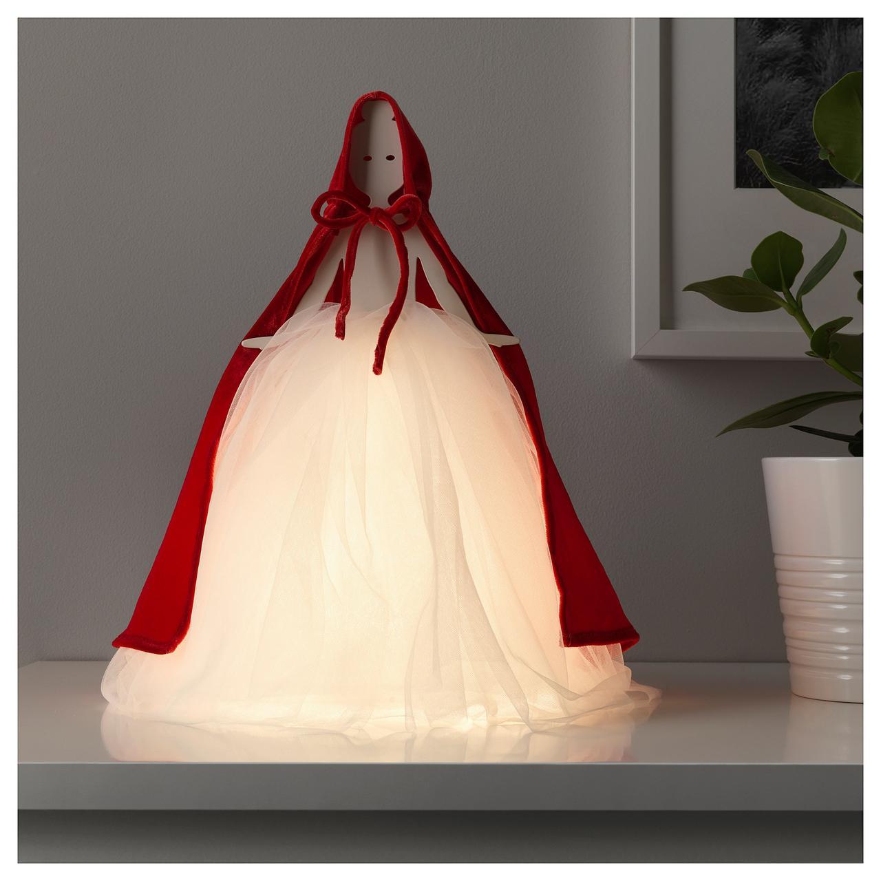 СТРОЛА Настольная лампа, светодиодная, девочка красный, белый