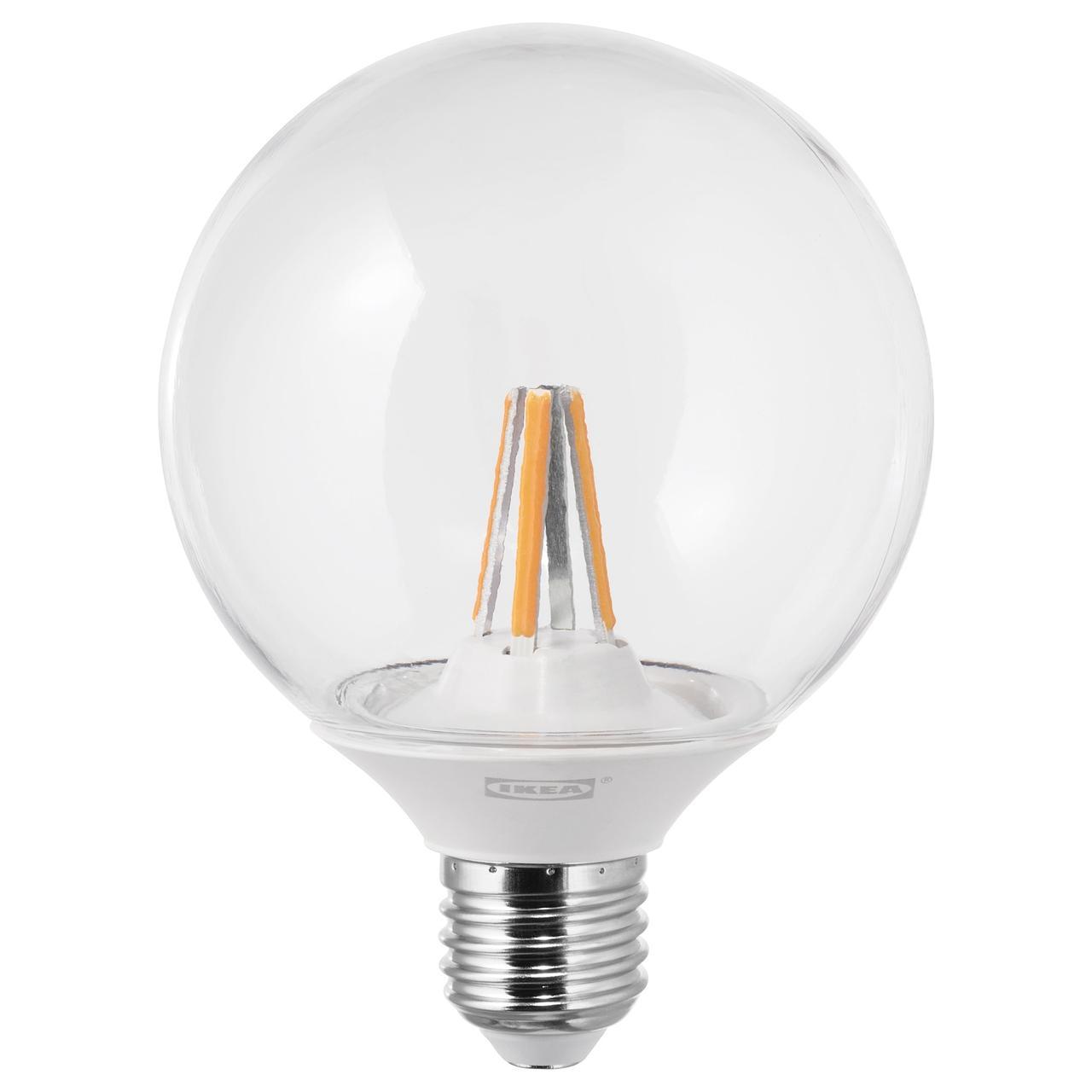 ЛЕДАРЕ Светодиод E27 600 лм, регулируемая яркость регулируемая яркость, теплый, шарообразный прозрачный