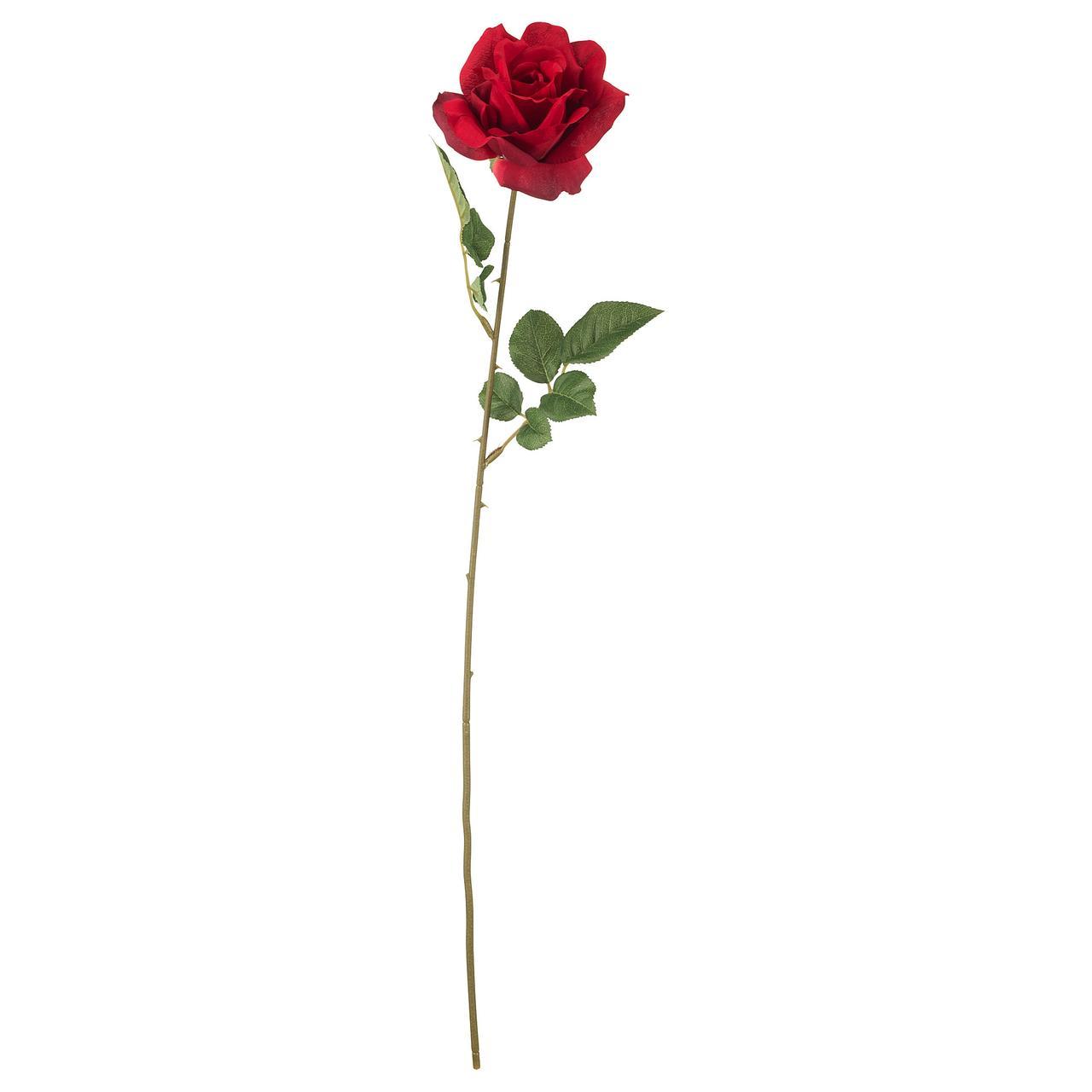 СМИККА Цветок искусственный, роза, красный