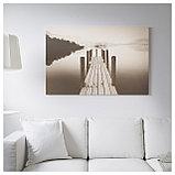 БЬЁРКСТА Картина с рамой, Пристань на рассвете, цвет алюминия, фото 3