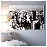 БЬЁРКСТА Картина с рамой, Мегаполис, цвет алюминия, фото 2