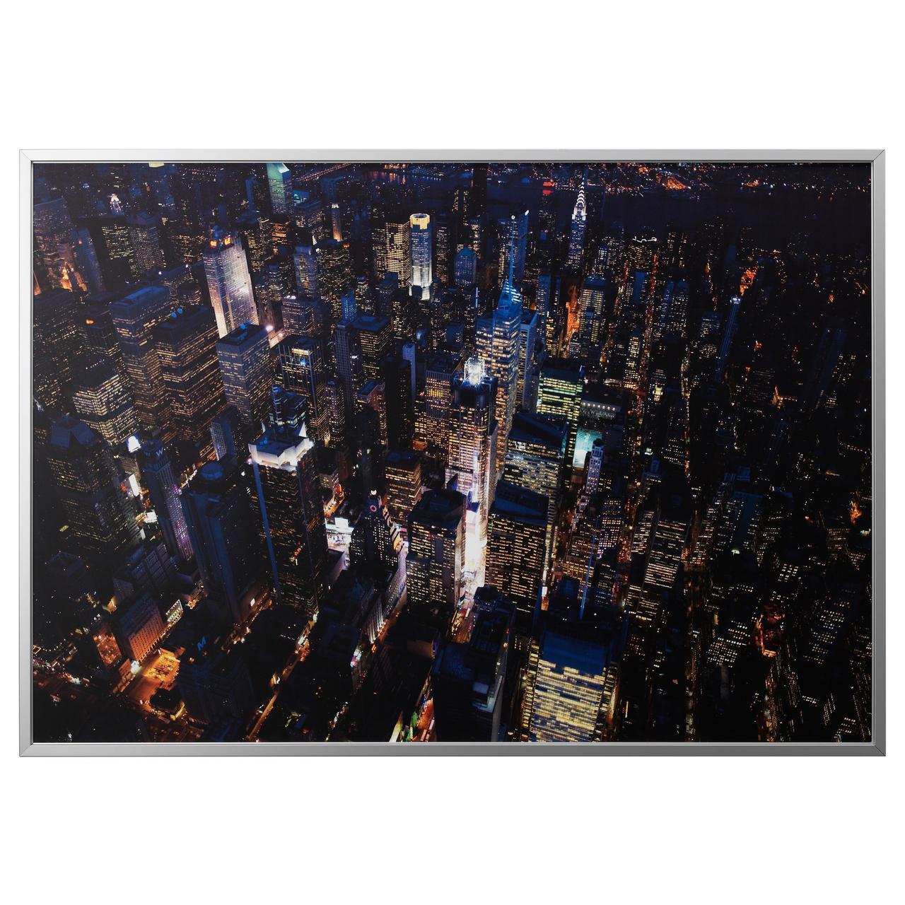 БЬЁРКСТА Картина с рамой, Огни Нью-Йорка, цвет алюминия