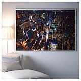 БЬЁРКСТА Картина с рамой, Огни Нью-Йорка, цвет алюминия, фото 2