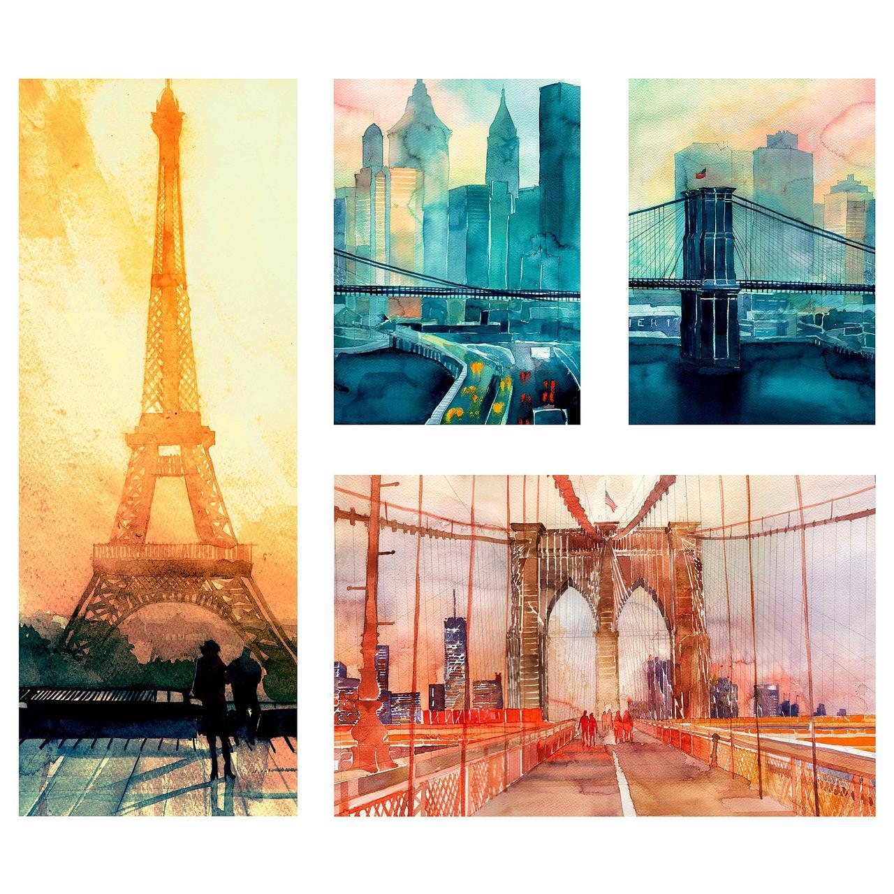 ГРОНБИ Набор картин,4 штуки, Городские пейзажи