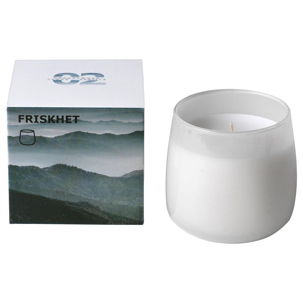 ФРИСКХЕТ Ароматическая свеча в стакане, Горный воздух, серый