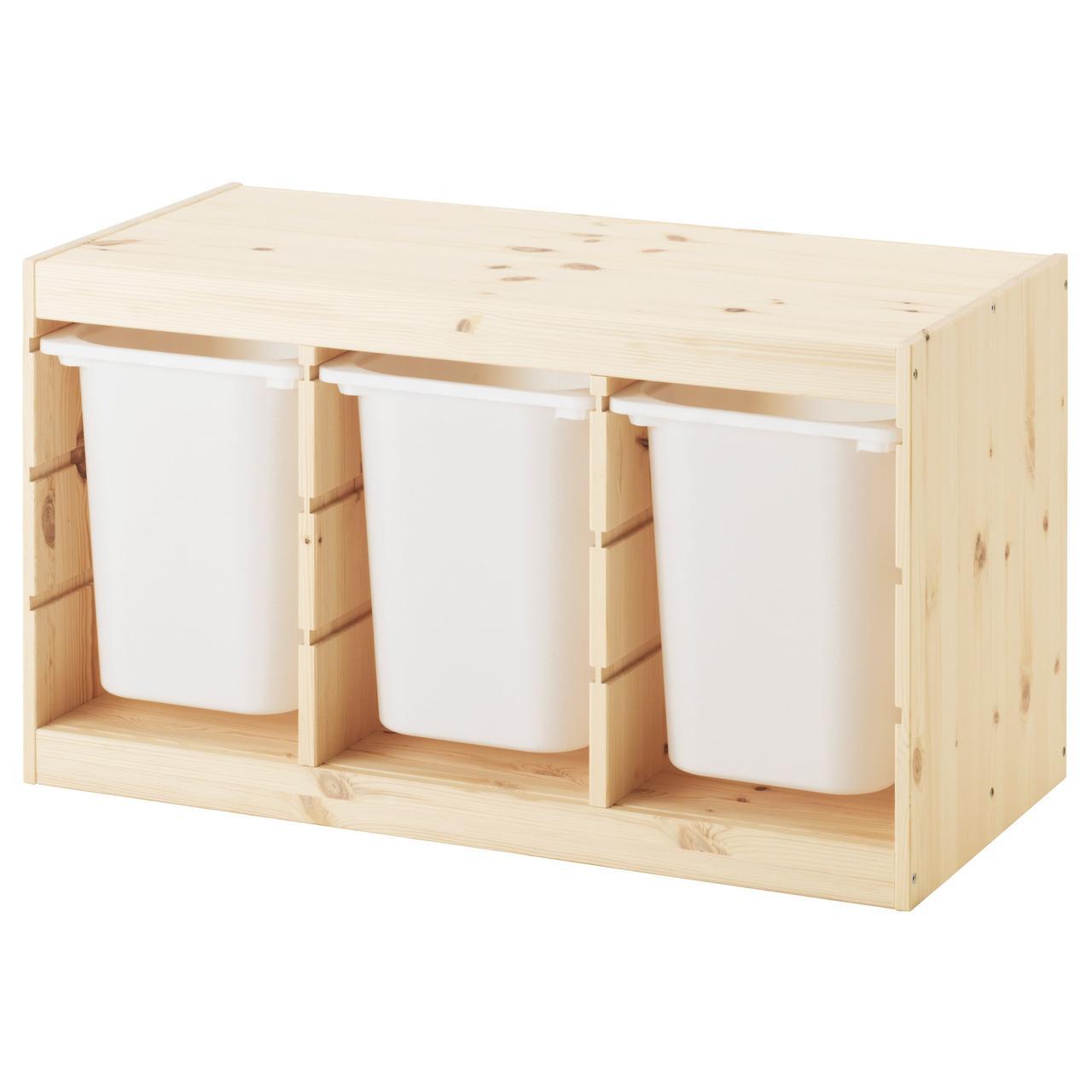 ТРУФАСТ Комбинация д/хранения+контейнерами, светлая беленая сосна, белый