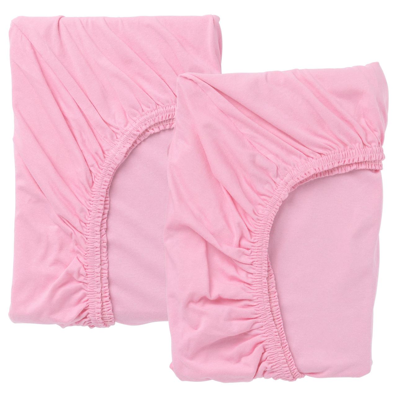 ЛЕН Натяжн простыня д/разд кровати,2шт, розовый