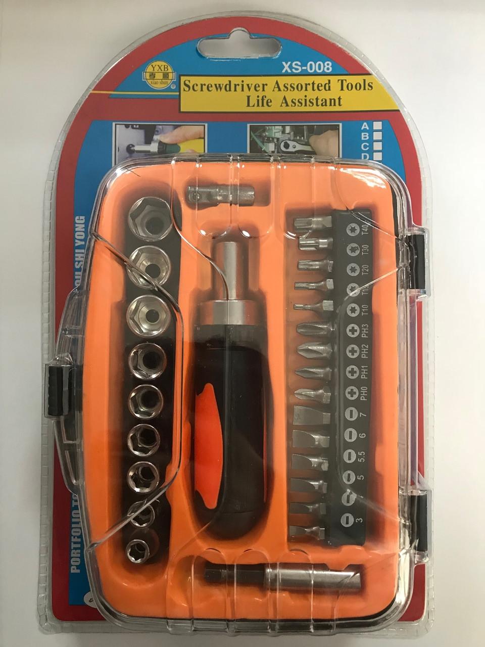 Отвёртка - вороток с набором насадок ХS-008