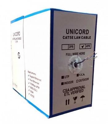 Кабель витая пара Unicord UTP 4*2*0,51 CCA для внутренней прокладки, Cat 5e, 305м