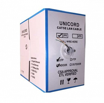Кабель витая пара Unicord UTP 2*2*0,51 для внутренней прокладки, Cat 5e, 305м