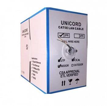 Кабель витая пара Unicord UTP 2*2*0,50 CCA для внутренней прокладки, Cat 5e, 305м