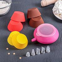 """Набор для выпечки капкейков """"Риб"""", 11 предметов: 6 форм, емкость для крема, 4 насадки 1,5 см"""