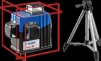 Лазерный нивелир, ЗУБР КРЕСТ 3D №2, 3х360°, 20м/70м, фото 2