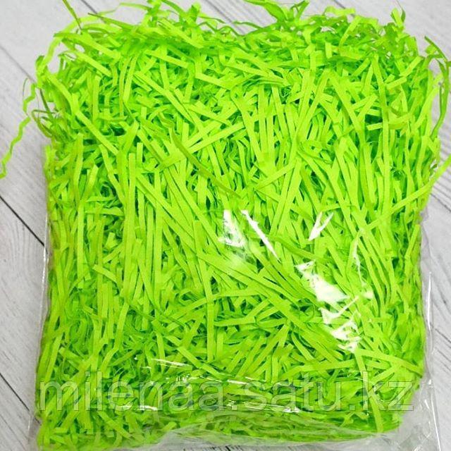 Наполнитель бумажный зелёный неон ровный и гофрированный