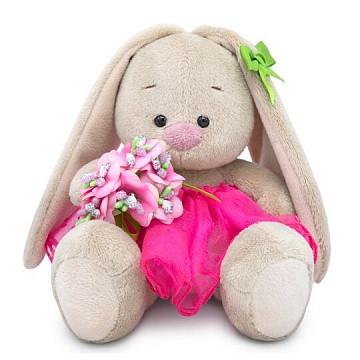 """Мягкая игрушка """"Zaika Mi"""" Зайка Ми с букетом в розовой юбке (малыш)"""