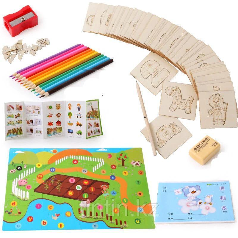 Детский набор для творчества — Трафареты и 3D пазл (47 трафаретов)