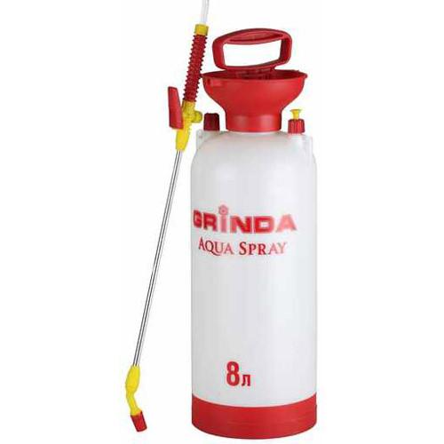 """Опрыскиватель садовый GRINDA """"Aqua Spray"""", широкая горловина, устойчивое дно, алюминиевый удлинитель, 8л"""
