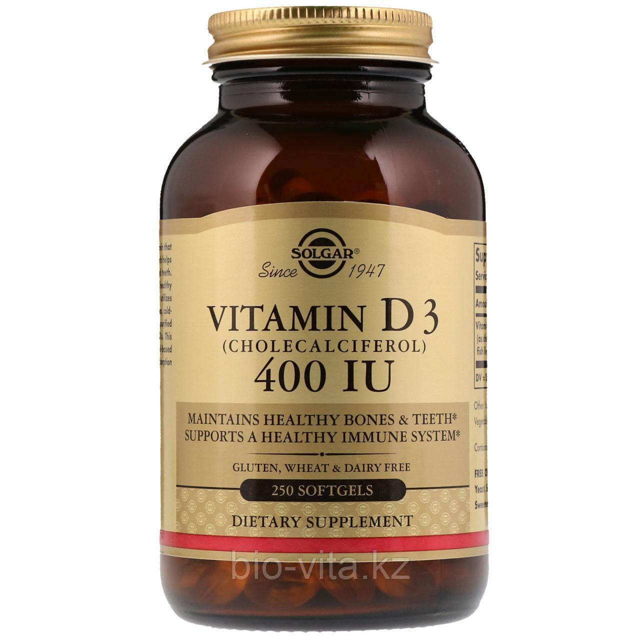Solgar, Витамин D3 (Cholecalciferol),400 МЕ, 250 капсул