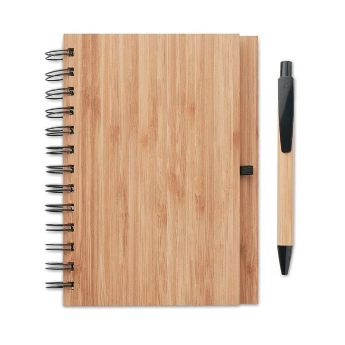 Бамбуковый блокнот с ручкой, BAMBLOC