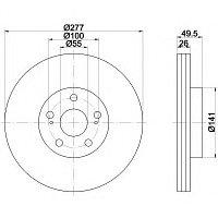 Тормозные диски Toyota  Avensis (03-08, передние, Veka)