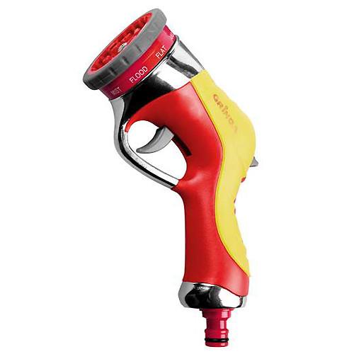 Пистолет-распылитель GRINDA 9-позиц., металлический с TPR, с автомат. сменой режимов распыления