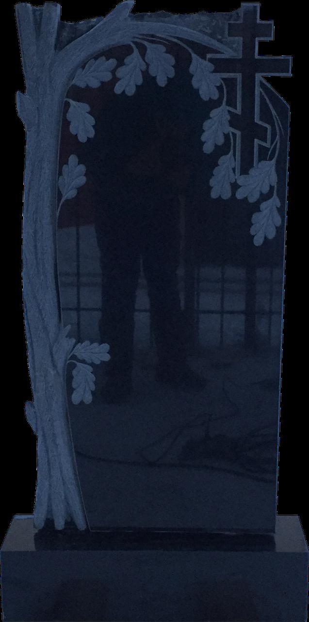 Надгробный памятник из черного гранита Дуб